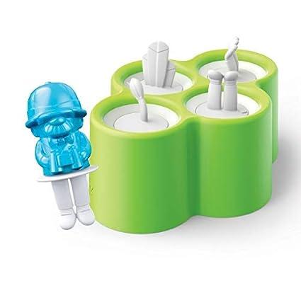 Zoku ZK134-Lote de 4 moldes para Hielo, plástico, Color Verde y Azul