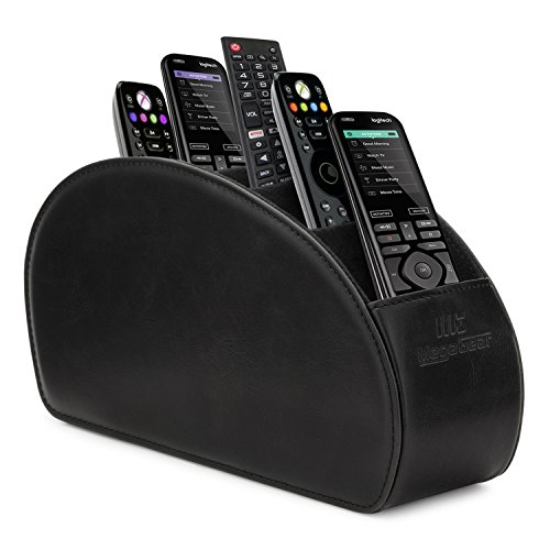 Megagear MG1405 Remote Control Holder - Store DVD, Blu-Ray, Roku or Apple TV Remotes - 5 Pockets, PU Leather - Slim, Compact - Black by MegaGear