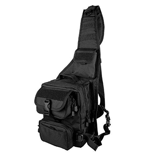 Tactical Backpack Shoulder Diagonal Bag Satchel Crossbody Rucksack Chest Pack Wear-resistant Nylon Portable Camera Bag for Photography Hiking Nailon Negro, by LC Prime
