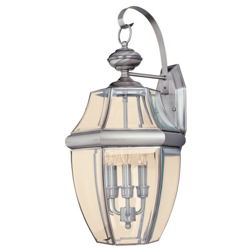 Sea Gull Lighting 8040-965 3-Light Lancaster Medium Outdoor Wall Lantern, Clear Beveled Glass and Antique Brushed Nickel - 3 Light Beveled Glass
