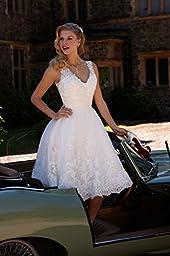 Aurora Bridal 2016 Elegant Short Lace Ball Gown Wedding Dress Beading Bridal Gown White 14
