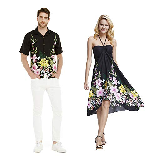 (Couple Matching Hawaiian Luau Cruise Party Outfit Shirt Dress in Rafelsia Border Black Men 2XL Women)