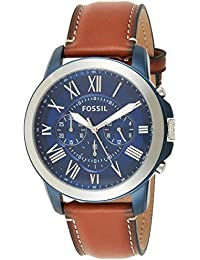 Men's Grant Stainless Steel Quartz Watch with Leather Calfskin Strap, Silver/Blue IP, 22 (Model: FS5151)