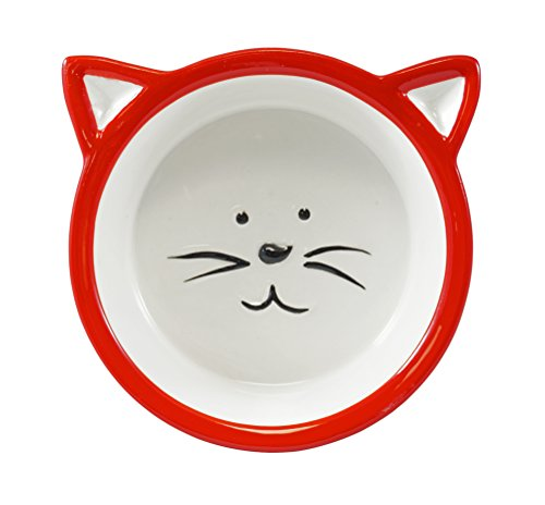 Chic Kitty Cat Face Food Bowl - Red