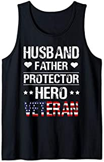 [Featured] Husband Father Protector Hero Veteran  Father's Day Tank Top in ALL styles | Size S - 5XL