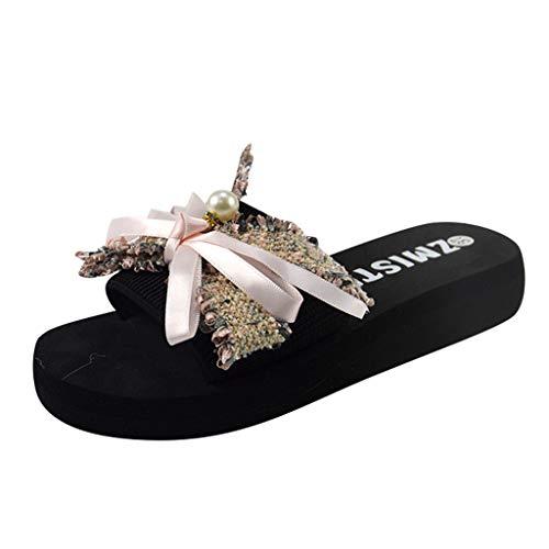 Dasuy Women Summer Slides Slippers Open Toe Platform Wedges Flower Sandals Non Slip Flats Flip Flops Bathroom Beach Shoes (US:7, Pink)