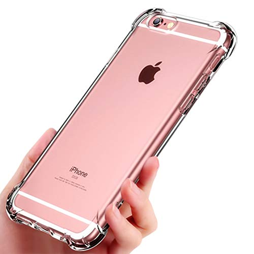 (CaseHQ Clear Hard Back Compatible with iPhone 6S 4.7 inch Soft TPU Bumper Drop Protection Anti-Scratch Transparent Cover Slim Fit Silicone Rubber Reinforced Corners Bumper Frame - Crystal)