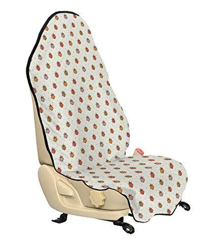 Ambesonne Ladybugs Car Seat Cover, Pastel Color Vintage Stylized Faded Bugs Setting Nostalgic Good Luck Childhood Theme, Car and Truck Seat Cover Protector with Nonslip Backing Universal Fit, Multi