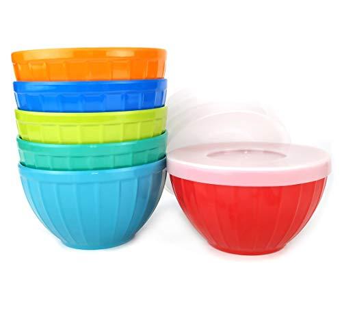 - Melamine Fluted Bowls Set with Lids-6pcs 17.5 oz Cereal/Soup/Prep Bowls,6 Assorted Color| Break-resistant 100% Melamine Bowls and Plastic Lids | Dishwasher Safe,BPA Free