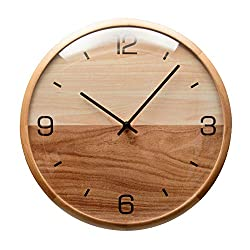 Driini Analog Dome Glass Wall Clock (10) - Pine Wood Frame with Two-Tone Wooden Face - Battery Operated with Silent Movement - Large Decorative Clocks for Classroom, Office, Living Room, or Bedrooms.