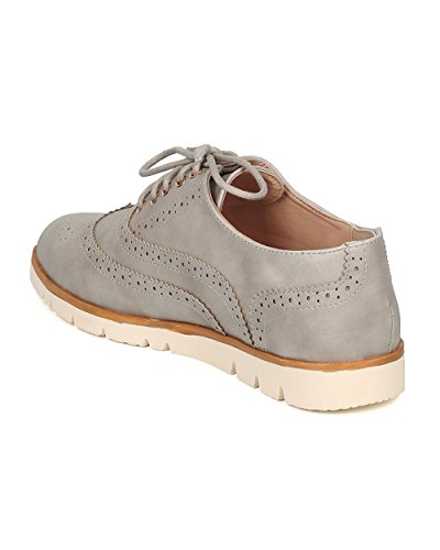 Nature Breeze Women Leatherette Lace Up Spectator - Work, Office, Casual, Formal - Lace Up Loafer - GG93 by Ice