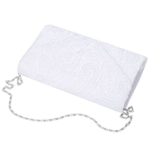 Clutch White iEFiEL Satin Rhinestone Party Bag Evening Women for Shopping Purse Envelope P1Bq7rIx1w