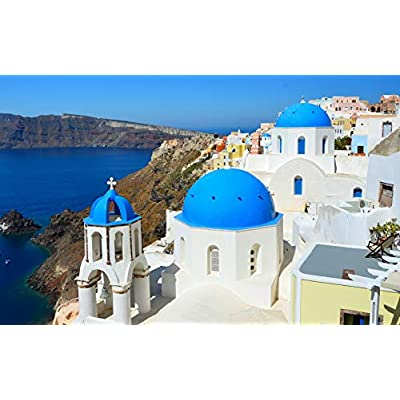BeneCharm Aegean Sea Jigsaw Puzzles 500 Pieces Puzzles for Adults - Dreamy Greece Santorini Landscape Puzzle: Toys & Games