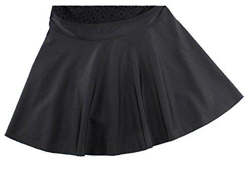 Bikini de la Falda del Traje de baño del Cordón del cuello de las Mujeres alto , black , L