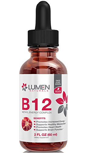 Vitamin B12 Complex Sublingual Liquid Drops - Methylcobalamin B 12 Vitamin Supplement for Healthy Nervous System, Optimal Blood Cell Production & Improved Metabolism - 2oz Bottle