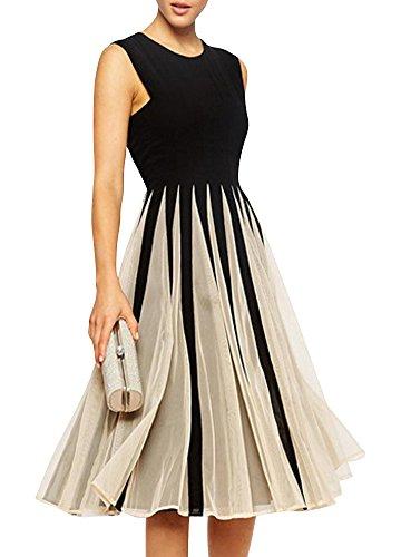 Hooye Women's Slim Ball Fancy Sleeveless Empire Waist Midi Dress
