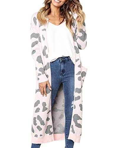 FAFOFA Women Knit Maxi Cardigan Sweater Coat Leopard Printed Long Sleeve Open Front Midi Knitting Overcoat Pink XL