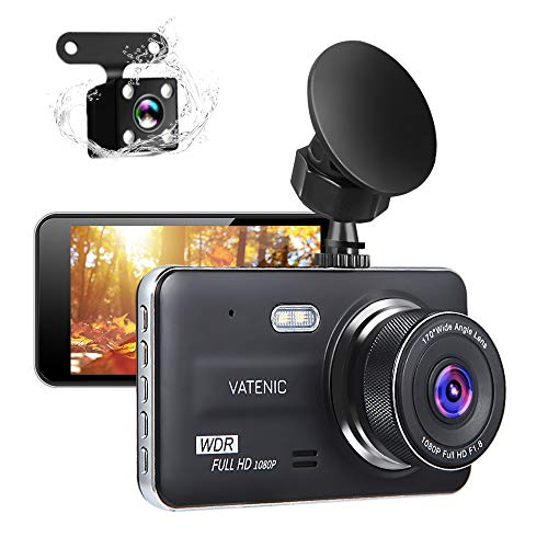 New Upgrate Dual Dash Cam Car Camera Recorder Full HD 1080P Front and Rear Cameras,Driving Loop Recording with 4.0″ IPS Screen 170°Wide Angle, WDR,Parking Monitor, G-Sensor, Night Vision (4.0)