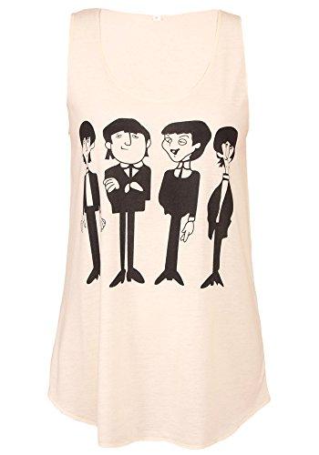 Sidecca Women's Knit Lightweight The Beatles Cartoon Tank (Large, Ivory) (Tshirt The Womens Beatles)