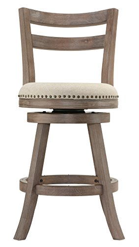 Cortesi Home Harper Counter Stool Beige Fabric Swivel Seat with Back Country Beige Swivel Counter Stools