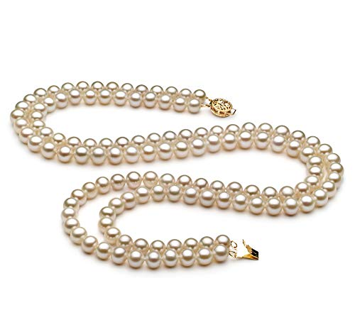 Liah White 6-7mm Double Strand AA Quality Freshwater Cultured Pearl Necklace for Women