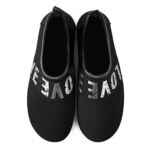 Chaussures Femmes Séchage De À Aqua argenté Surf Chaussettes Hommes Yoga Bassin Joinfree Le Noir Sport Rapide Plage Td5x0zTq