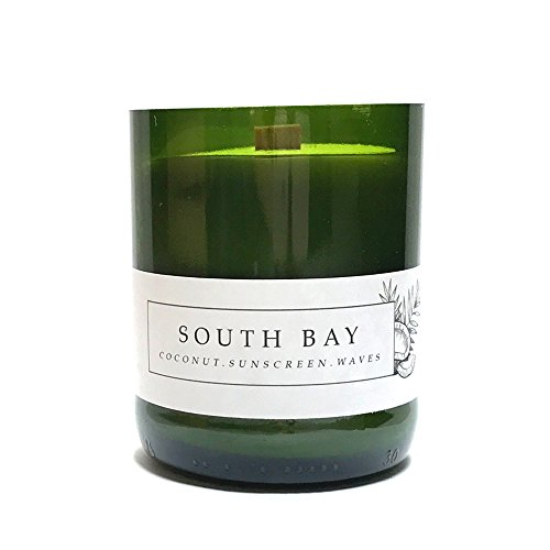SOUTH BAY || Coconut, sun tan lotion, beach candle || Recycled Wine Bottle-Wood Wick-Soy Candle || 8 ounces (Beach South Wine)