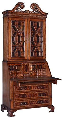 EuroLuxHome New Secretary Desk Bookcase Glass Panes Mahogany Leather Carved Bracket Feet