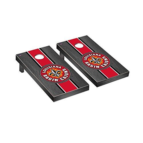 Victory Tailgate Regulation Collegiate NCAA Onyx Stained Stripe Series Cornhole Board Set - 2 Boards, 8 Bags - Louisiana Ragin Cajuns