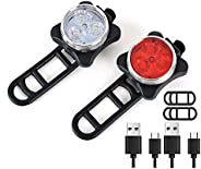 USB Rechargeable Bike Light Set,Super Bright Front Headlight and Rear LED Bicycle Light Lithium Battery,4 Ligh