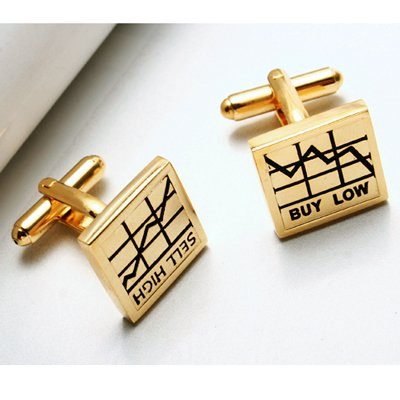New Rhodium Cufflinks Cufflink - GOLD PLATED WALL STREET STOCK BROKER BUY LOW SELL HIGH PAIR OF POLISHED PLATINUM / RHODIUM GIFT CUFF LINKS [1 pair]
