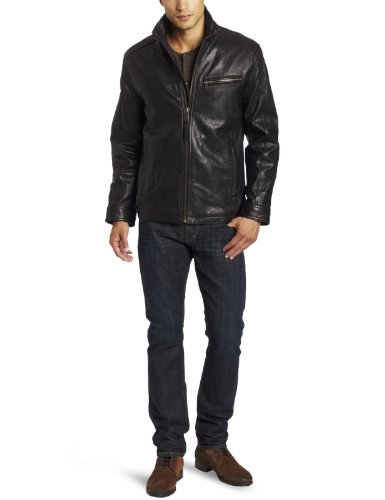 Marc New York by Andrew Marc Men's Nolan Lambskin Leather Open Bottom Jacket, Black, XX-Large