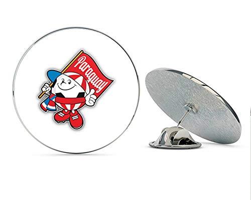 Cartoon Paraguay Flag Soccer Ball Mascot Round Metal 0.75