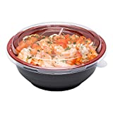 Medium Asian Panda Microwavable Bowl - BPA Free PP Black and Red with Clear Lid - Catering & Takeout - 24 oz - Plastic - Disposable - 200ct Box - Restaurantware