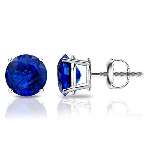 Diamond Wish 18k White Gold Round Blue Sapphire Gemstone Stud Earrings (3/4 carat TW) 4-Prong Basket, Screw-Back