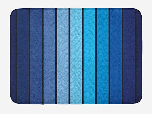 (Navy Bath Mat, Plaques in Blue Tones with Border Lines with Sketchy Details Print Image, Plush Bathroom Decor Mat with Non Slip Backing, 23.6 X 15.7 Inches, Dark Blue and Pale Blue)