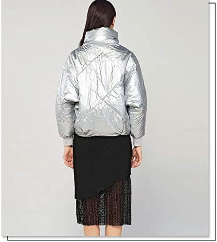 Michealboy Womens Silver Package Down Jacket Light Weight Short Down Coat