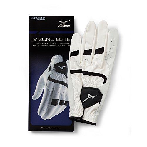 Mizuno Elite Glove, Left, White/Black, Medium/Large