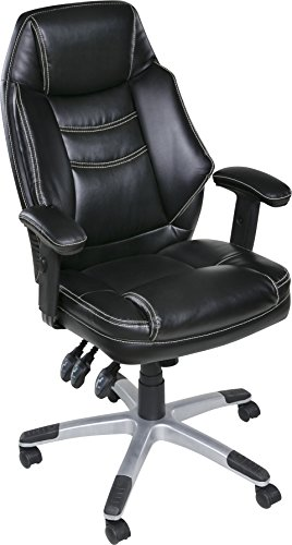 OneSpace Jefferson Plush Executive Chair with Adjustable Padded Armrests, Black