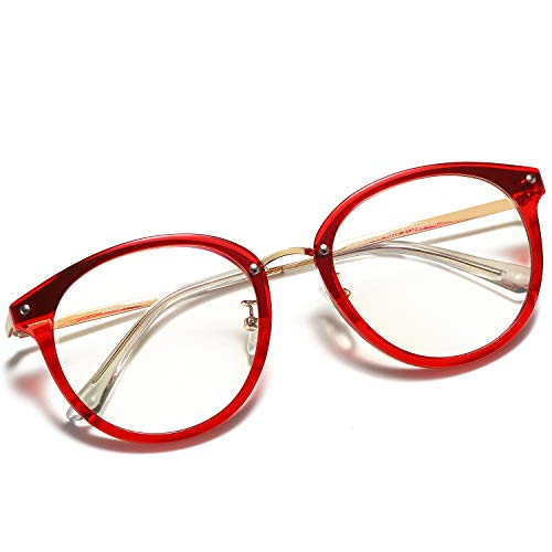 VANLINKER Clear Lens Eyeglasses Anti Blue Light Computer Reading Glasses VL9001 C03 Transparent red Frame/Anti-Blue Light Lens]()