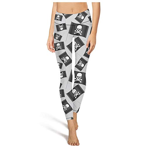 Wardell Fashion Womens high Waisted Yoga Pants Black Small Pirate Flag with Skull and Bones Workout Leggings ()
