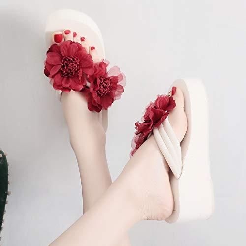 Mujer Cm Chanclas Vestir Nacionalidad Sandalias Zapatos Sandal Cuña Plataforma Para Rojo Beach De 6 Rosa Tradicionales xwxqgZBY