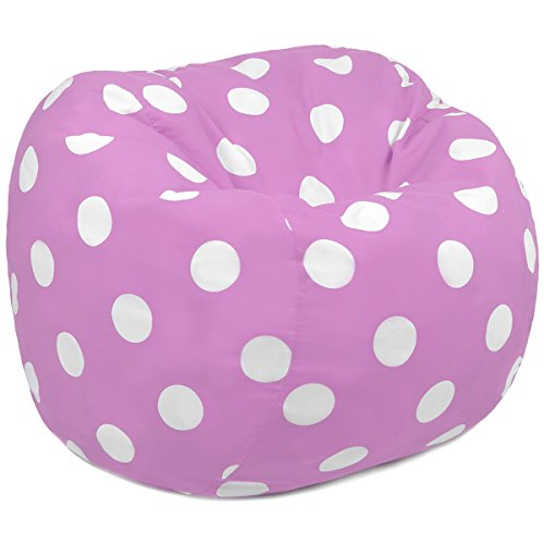 Oversized Kids Bean Bag Chair In Pink With White Polka Dots