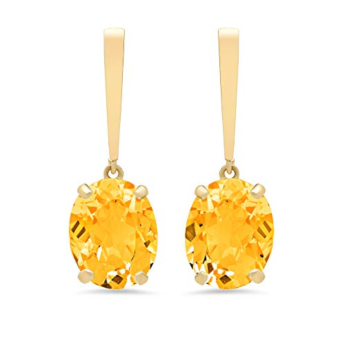 (14k Yellow Gold Solitaire Oval-Cut Citrine Drop Earrings (10x8mm))