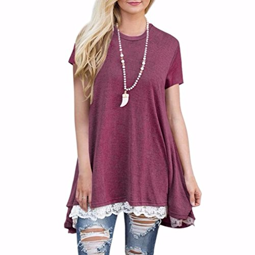 Clearance!! Women Shirt Dress Short Sleeve,Lelili Fashion Lace Patchwork Crewneck Pleat Swing Blouse Tops Sweatshirt (L, Wine Red)