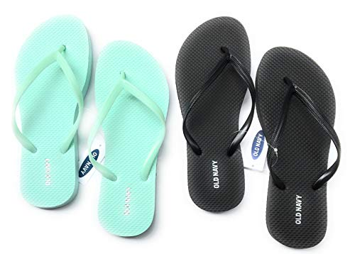 Old Navy Flip Flop Sandals for Woman, Great for Beach or Casual Wear (10, Mint and Black)
