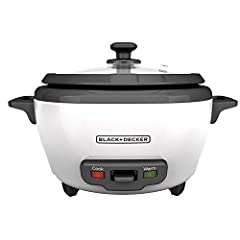 """Dinner is easier with the BLACK+DECKER 6-Cup Electric Rice Cooker. Cooking takes just 20-30 minutes, and the unit keeps the delicious, fluffy rice ready to serve long after cooking is complete with an automatic """"keep warm"""" function. Use it as..."""