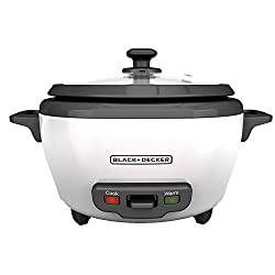 Black+decker Rc506 6-cup Cooked3-cup Uncooked Rice Cooker & Food Steamer, White