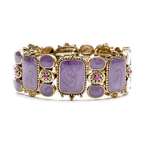 LookLove Womens Jewelry Purple Enamel and Austrian Crystal Stretch Bracelet ()
