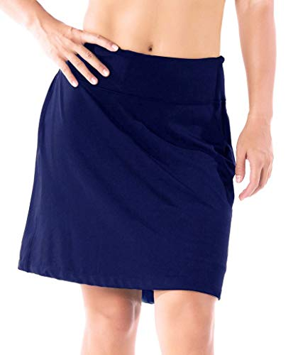 Yogipace Women's Sun Protection 17 Long Running Skirt Athletic Golf Skort with Tennis Ball Pockets Built in Shorts Navy Blue Size M